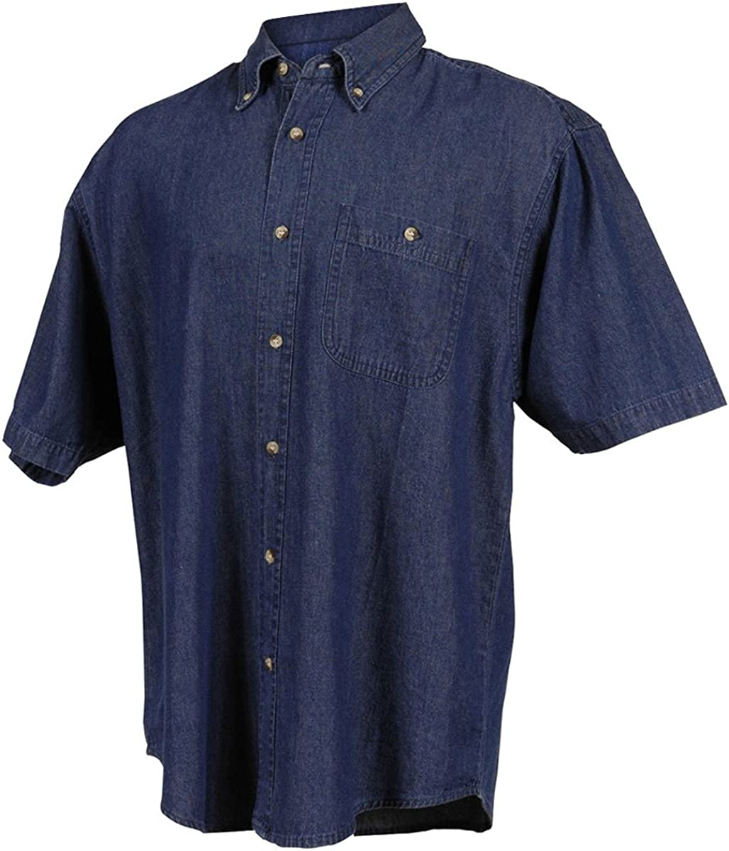 Tri-Mountain Men's 100% Cotton Scout Stonewashed Denim Shirt (3 Colors, XS-6XLT)