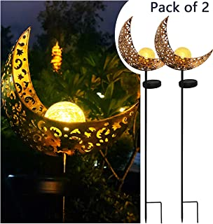 Solar Powered Garden Lights, 2 Pack Antique Brass Hollow-Carved Metal Moon with Warm..