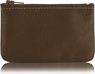 Genuine Leather Coin Pouch Change Holder For Men/Woman With Zipper Pouch Size 4 x2.5 Made In U.S.A. (Olive)