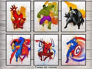 Superheroes Wall Art Print Set - Home Decor for Boys, Kids Room - Great Gift for Superman, Batman, Spiderman, Captain America, Wolverine, Iron Man,Marvel, DC Comic Books Fans- 8x10 photo - Unframed