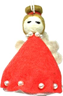 Silk Road Bazaar Felt Magic Fairy Ornament - Red