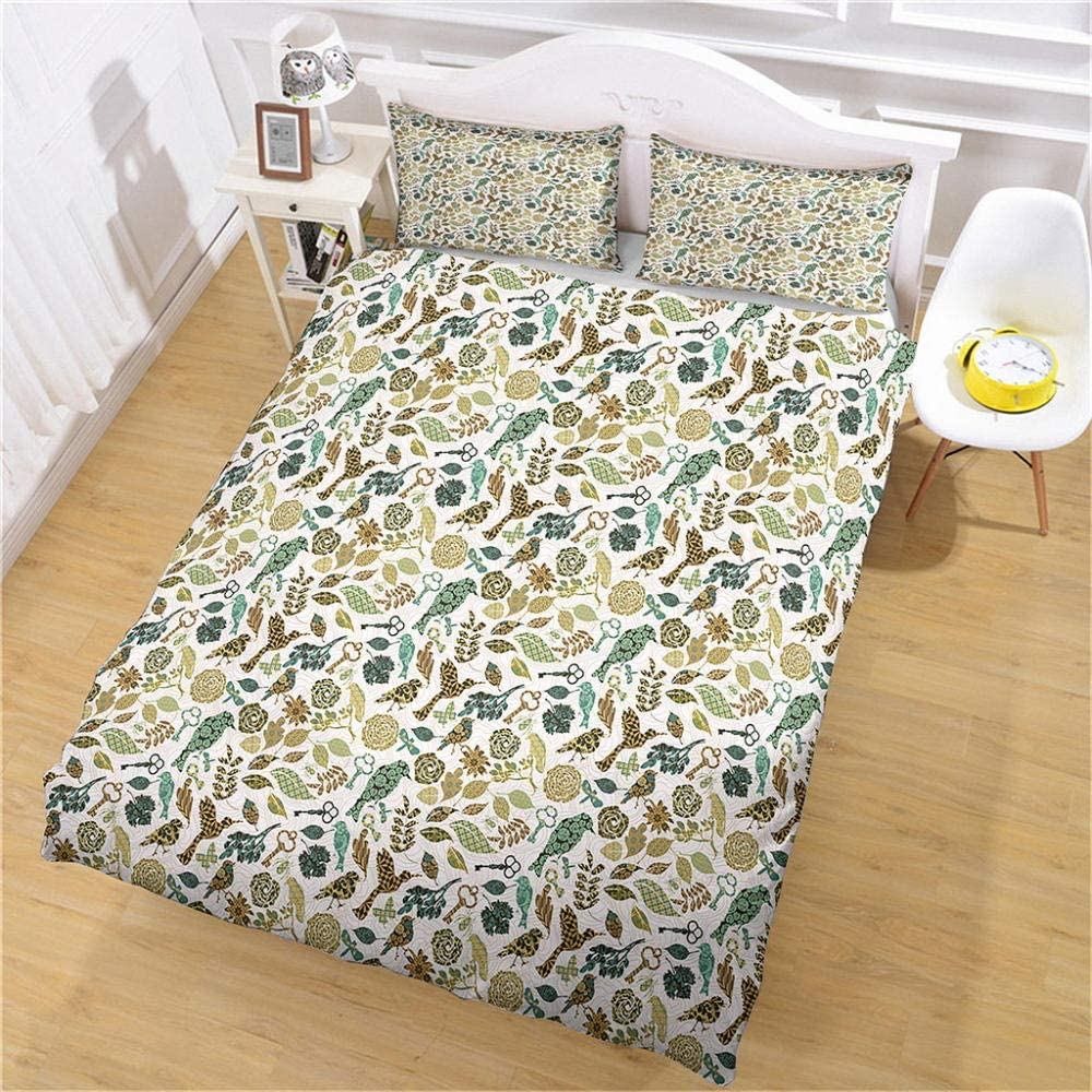 JJBWZX Bedding Duvet Covers Twin 68X90In SEAL limited product Super sale Pat Blue 3D Bird Flower