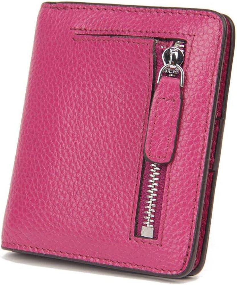Aprinctempsd, portafoglio piccolo, porta carte di credito, protezione rfid, in pelle, rosa, per donna