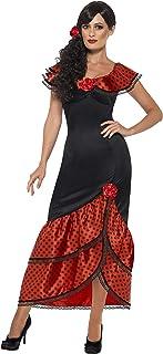 Smiffys Smiffys 45514M - Damen Flamenco Kostüm, Kleid und Haarschmuck, Größe: M, schwarz