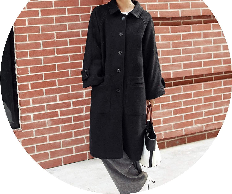 Jifnhtrs Fashion Women Long Woolen Coat Warm Loose Long Women's Jacket Pockets Cashmere Coat and Jacket