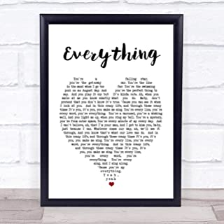123 BiiUYOO Everything Michael Buble Heart Song Lyric Quote Print with Frame A3 16