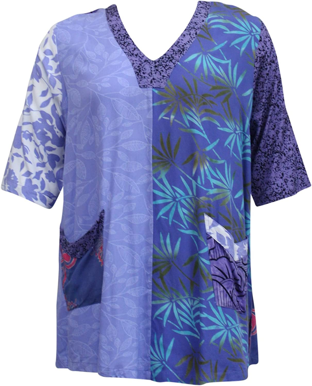 Wild Thing Wild Woman Batik Patchwork Two Pocket Patchwork Tunic Top