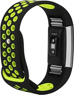 "for Fitbit Charge 2 Bands, Wristband Adjustable Comfortable Soft Silicone Replacement Band for Fitbit Charge 2 Fitness (Black & Yellow, Small (5.5""-6.7""))"
