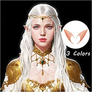 Wsuhapy 3 Pairs Soft Elf Ears Halloween Elven Vampire Ears Cosplay Accessories Masquerade Fairy Pixie Pointed Prosthetic Ear Set Anime Party Dress Up Medium