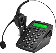 AGPtek Handsfree Call Center Dialpad Corded Telephone #HA0021 with  Monaural Headset Headphones Tone Dial Key Pad & REDIAL- 1 Year Warranty