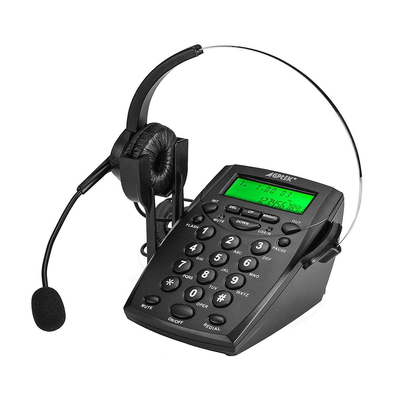 AGPtek Handsfree Call Center Dialpad Corded Telephone #HA0021 with  Monaural Headset Headphones Tone Dial Key Pad & REDIAL- 1 Year Warranty