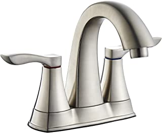 TimeArrow TAF3500-BN Two Handle Centerset Bathroom Sink Faucet With Drain Assembly and Water Supply Hose, Brushed Nickel
