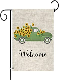 Best JOCACTI Sunflowers Welcome Truck Garden Flag, 12 x 18 Inches Summer Fall Double Sided Burlap Yard Outdoor Indoor Decoration Supplies, with Rubber Stopper and Clear Anti-Wind Clip Review