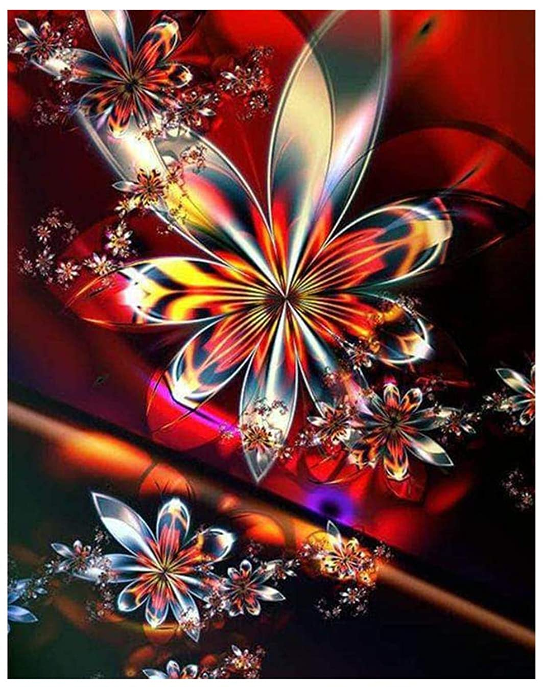 Blxecky DIY 5D Diamond Painting by Number Kit for Adult, Full Drill Diamond Embroidery Dotz Kit Home Wall Decor-Flower(30X40CM/12X16inch)