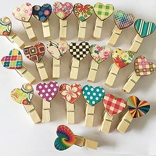 UOOOM 40pcs Pinzas de Madera Mini Amor Forma de corazón Papel fotográfico Pinzas para Fotos de Boda Regalo DIY Craft Decor