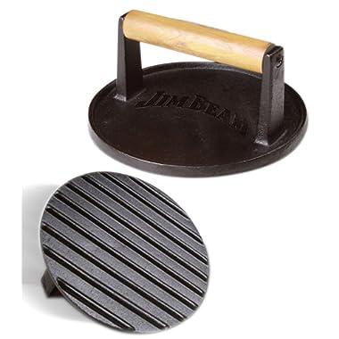 Jim Beam JB0158 Black Cast Iron Burger Press - 7'' Heavy Duty Burger Press with Solid Wood Handle