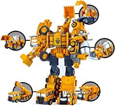 5 Pack TransTruck Transforms to Tractor and Robot Action Figures Combine into 1 Giant Robot – Holiday, Birthday Gift Tractors Robots Toys for Kids
