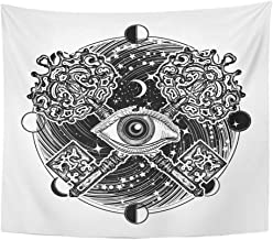 Emvency Tapestry Mandala 50x60 Inches All Seeing Eye Tattoo Occult Masonic Magic Key Mystical Esoteric Symbol of Secret Decor Wall Hanging for Living Room Bedroom Dorm
