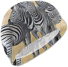 Zebras On South Africa Safari Kids/Adult Swim Caps,Silicone Waterproof Comfy Bathing Cap Swimming Hat for Long and Short Hair