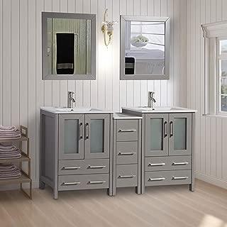 Vanity Art 60 inch Double Sink Bathroom Vanity Combo Set 1 Side Cabinets 2 Shelves Ceramic Top Bathroom Cabinet with Two Free Mirror (Gray) - VA3024-60-G