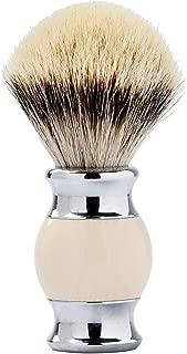 Je&Co 100% Silvertip Badger Hair Shaving Brush, Handmade Shaving Brush with Fine Resin Handle and Stainless Steel Base(Ivory)