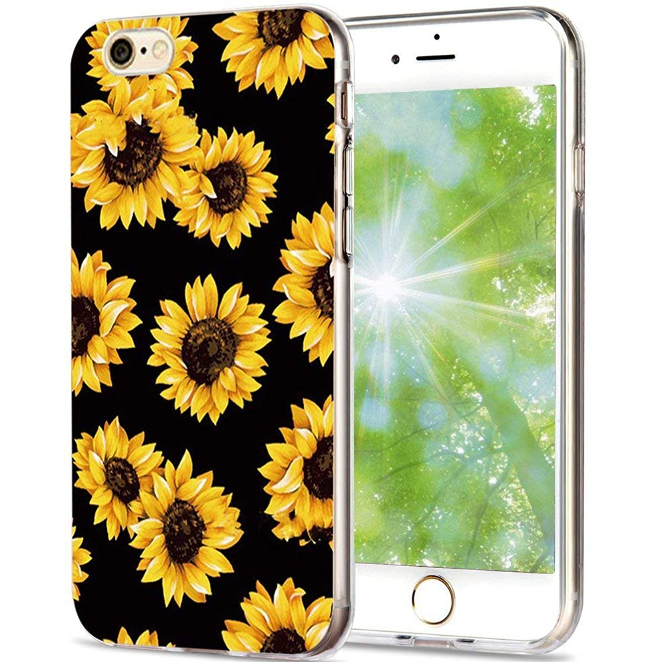 iPhone 6s case, iPhone 6 case, AIKIN Simply Designed Flower Pattern Case Soft TPU Flexible Case Shockproof Protective Cute Case for iPhone 6, iPhone 6s 4.7 Inch (Sunflower + Black)