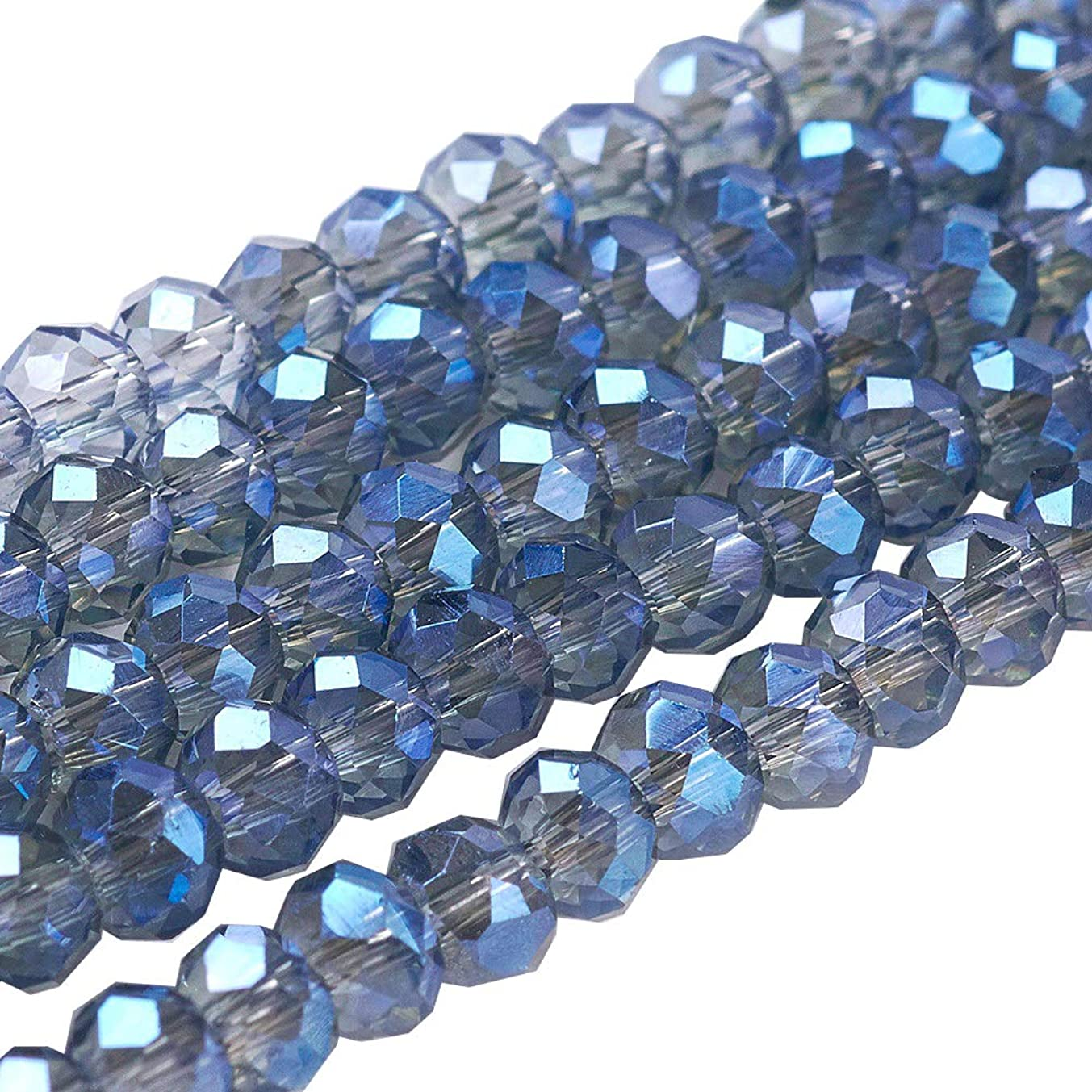 NBEADS 10 Strands of 2mm Wholesale Blue Briolette Crystal Glass Beads Faceted Spacer Beads Briollete Rondelle Shaped