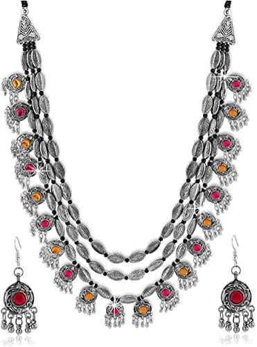 Fashion Jewellery Antique German Silver Oxidised Plated Tribal Cotton Thread Jewellery Necklace Earring Set For Women Girls Valentine Gift Special Multi