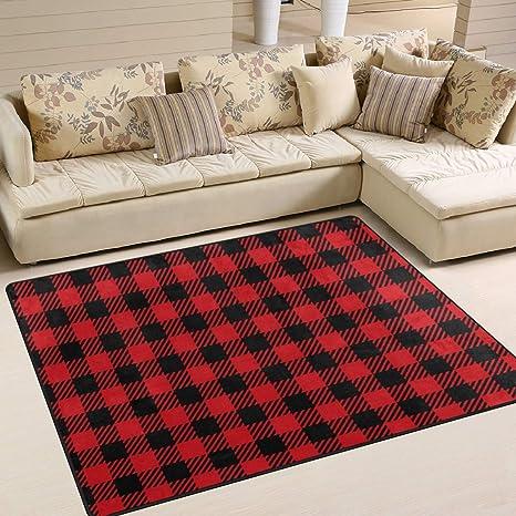 Amazon Com Area Rugs Red Black Buffalo Plaid Seamless Indoor Outdoor Floor Mat Livingroom Bedroom Sofa Carpet Non Slip Home Hotel Large Custom Area Rug Mat 5 25 X4 Kitchen Dining