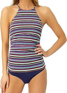 Anne Cole Two Piece Tankini Set - High Neck Longer Length Strappy Back Swimsuit Top & Classic Bikini Bottom XL