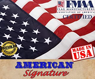 American Flag 2.5 x 4 ft Made in USA by FMAA Certified Manufacturer. Indoor Outdoor US Flags 2.5x4 ft Embroidered Stars and Sewn Stripes with Brass Grommets. (2.5' x 4')