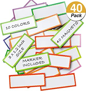 40 Pieces Magnetic Dry Erase Labels and Stickers, Favourde Writable Flexible Magnet Name Plate Labels Use for Whiteboard Magnets, Fridge and Classroom Behavior Chart,10 Colors (3 x 1.2 Inch)