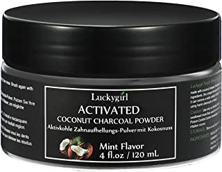 Luckygirl Teeth Whitening Charcoal Powder 4 oz Natural Coconut Tooth Stain Remover, Non Abrasive, Vegan, Mint Flavored