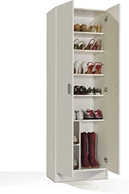 Loungitude Armoire Rangement 2 Portes, Bois, Blanc, 58,5 x 37 x 180