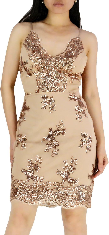YSJ Women's Sexy VNeck Sequins Bling Bodycon Mini Party Dresses Club Dress