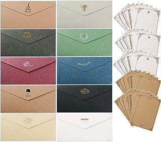 レターセット 封筒 30枚 便箋 32枚 シンプル アンティーク メッセージカード 封筒付 グリーティングカード バースデーカード かわいいメッセージを大切な人へ