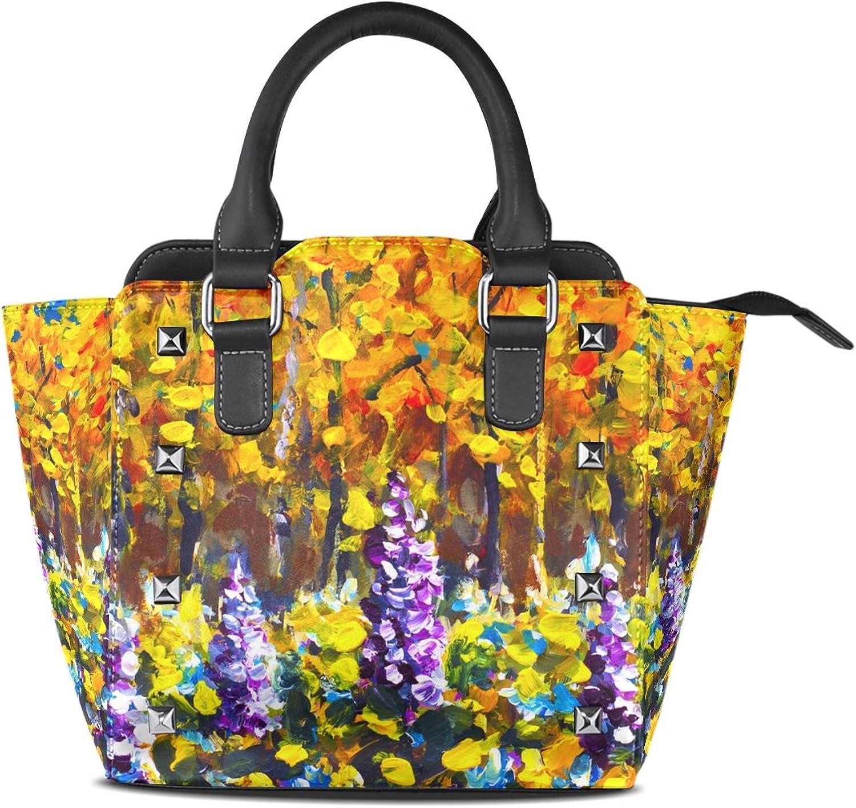 My Little Nest Women's Top Handle Satchel Handbag Oil Painting Forest Trees Ladies PU Leather Shoulder Bag Crossbody Bag