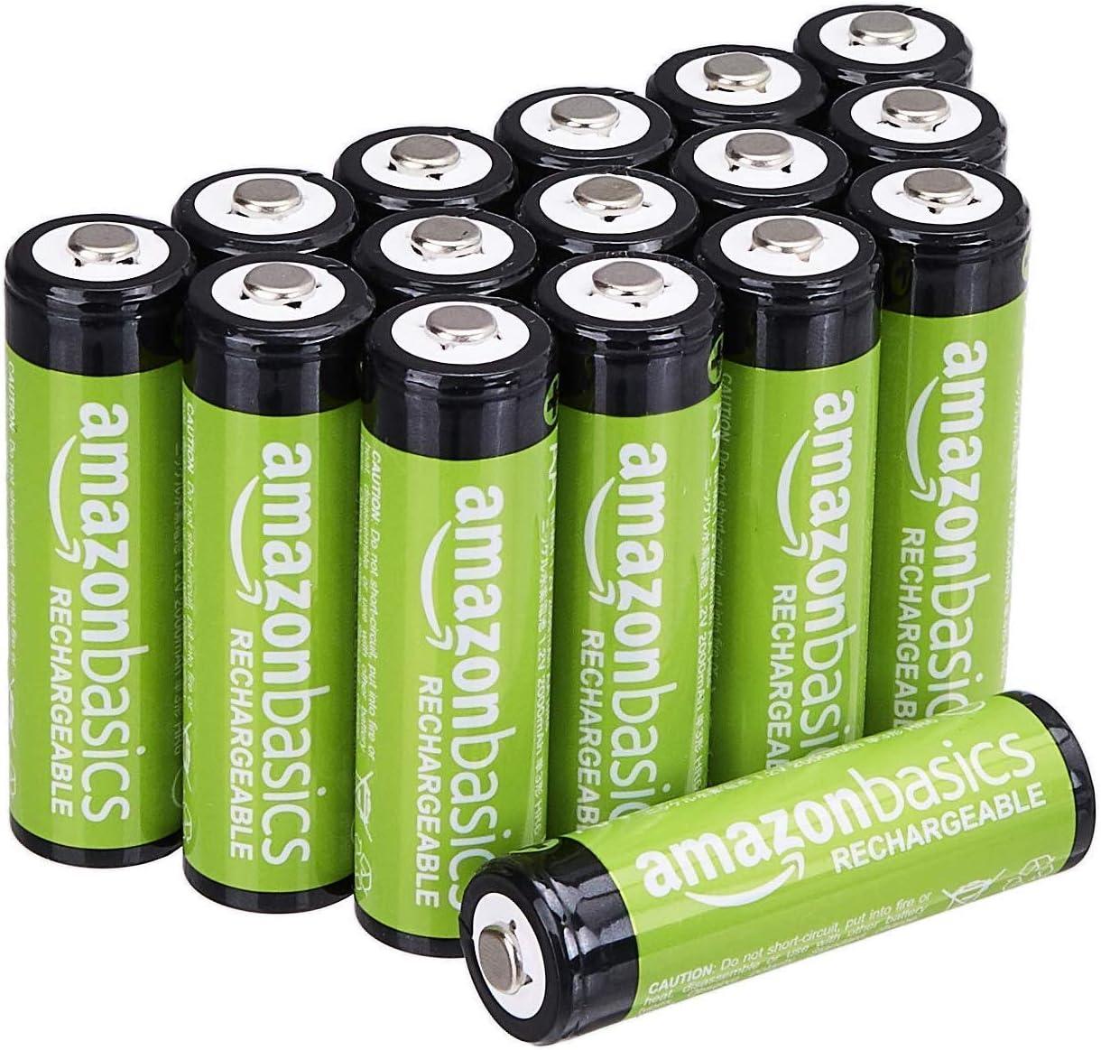Amazon.de: Amazon Basics 16-Pack AA-Akkus, Leistung 2.000 mAh Akku, vorgeladen, bis zu 1000x aufladen: Gesundheit &  Haushalt