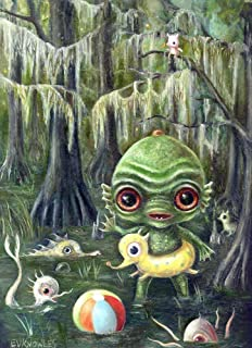 Baby Creature from the Black Lagoon Big Eye Art Print, Pop Surrealism Gift, Size Options Available