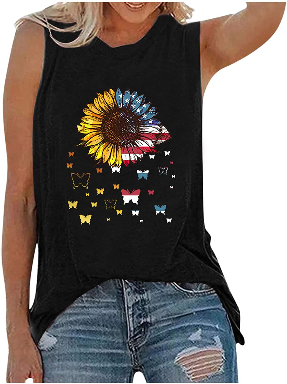 Summer Tank Tops for Women,Womens Tank Tops Sleeveless Summer Shirts Round Neck Sunflower Cute Printed Tshirt Workout Blouse Casual Tunic Tee