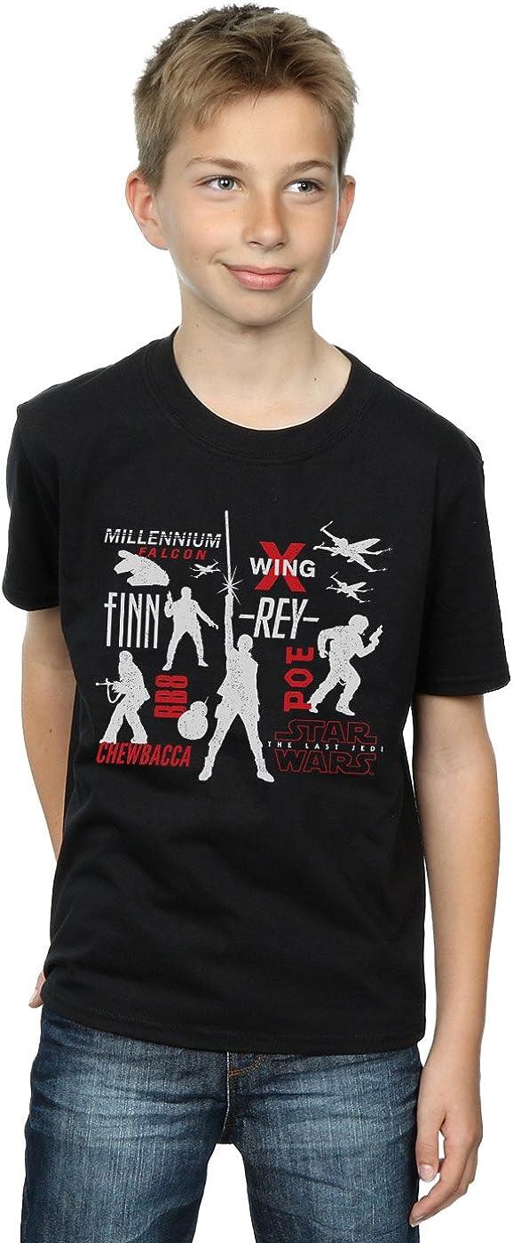 STAR WARS Boys The Last Jedi Rebellion Silhouettes T-Shirt 9-11 Years Black