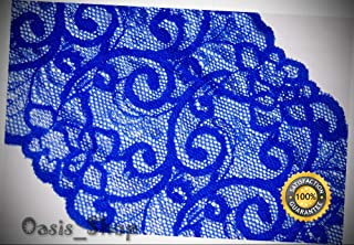 1 Yard Royal Cobalt Blue White Galloon Sheer Stretch Sewing lace 5.75