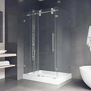 VIGO 36 x 48 Frameless Rectangular Sliding Shower Door Enclosure with Tempered Glass   Waterproof Shower Door Seal Strip and 304 Stainless Steel Hardware   Left Drain Base   Stainless Steel Finish