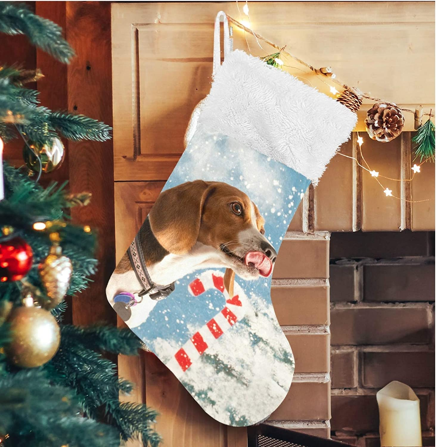 ALAZA Fixed price for sale Christmas Max 44% OFF Stockings Beagle Large Personalized Classic Dog