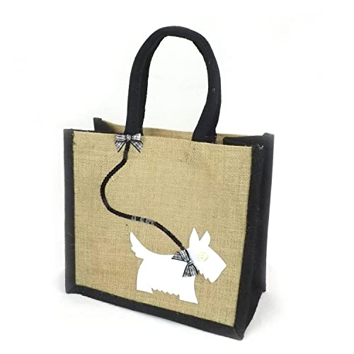 Natural Jute Hessian Lunch Gift Bag - Scottie/Westie Dog - White on Black