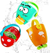 ToyerBee Bath Toys, Educational Waterfall Bath Stackable Cups with Wheel for Toddler, Best Falls Bath Toys for 1.2.3.4.5 Years Old Kids, Squirt Toys with Handles, Multi(3 Pieces)