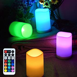 LAMPDREAM 4 Packs Battery Operated LED Candles Lights with Remote and Timer, Multicolor Changing Candles Lamp for Wedding, Christmas, Birthday, Valentine, Mother Day