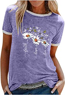 catmoew Camisetas Mujer Manga Corta con Estampado Vintage Tops Manga Corta Mujer Casual de Verano T Shirt Mujer Camiseta H...