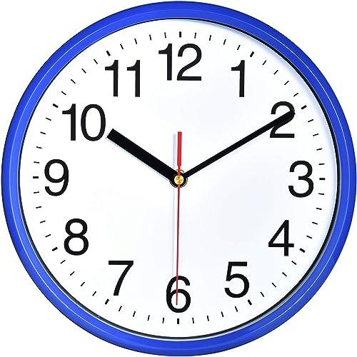 """Plumeet 10"""". Reloj de Cuarzo de Pared silencioso, Decorativo para el hogar/la Cocina/la Oficina/la Escuela, fácil Lee..."""