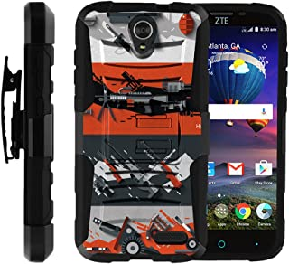 TurtleArmor | Compatible with ZTE Grand X 3 Case | ZMax Champ | Warp 7 [Hyper Shock] Armor Hybrid Hard Shell Kickstand Silicone Holster Belt Clip War and Military - Heavy Artillery